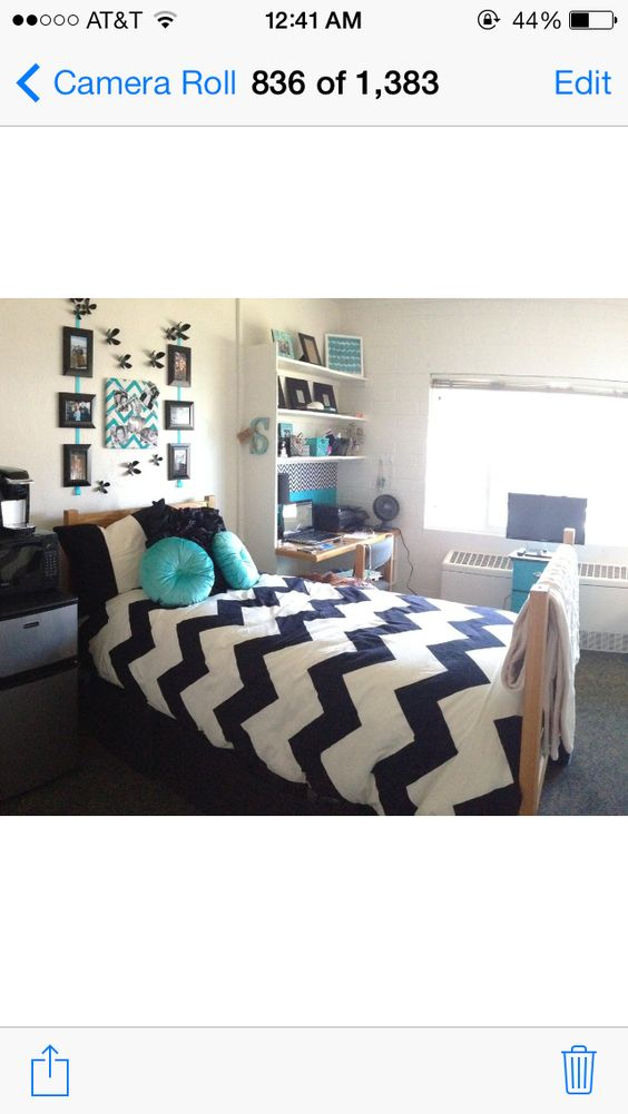 Chevron dorm room.  If walls were truly white this could work in any dorm room. NOt sure if you could hang artwork. Most dorms have some strict rules. Love the Chevron print.