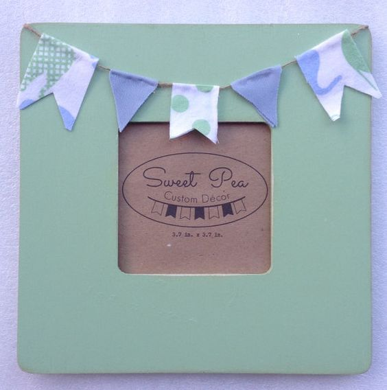 CUSTOM Square Frame with Fabric Banner by SweetPeaCustomDecor