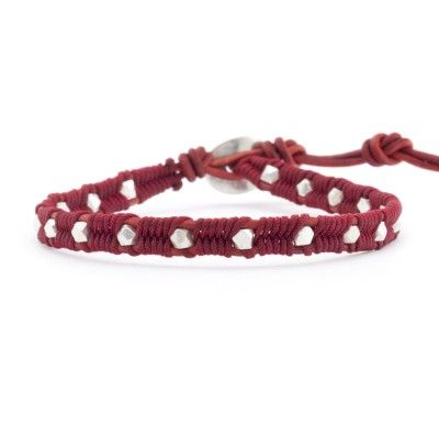Sterling Silver Nugget Single Wrap Bracelet on Natural Dark Red Leather - Chan Luu