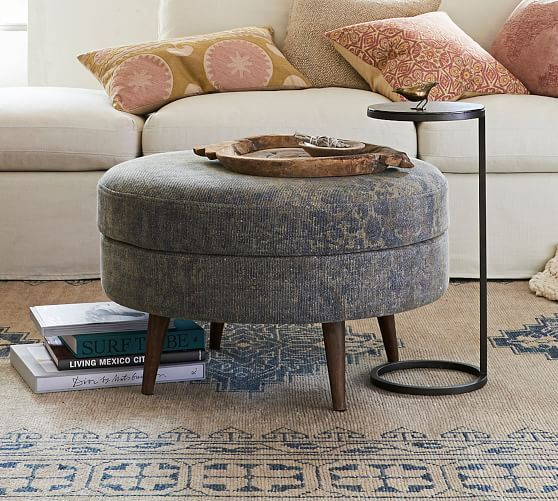 Jade Upholstered Round Ottoman