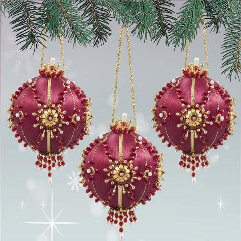 Sunrise Craft Hobby Crimson Rush Ornament Kit Christmas Ornaments Victorian Christmas Ornaments Beaded Christmas Ornaments
