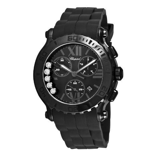 Chopard Women's 288499-3007 R Happy Sport Chronograph Rubber Black Dial Watch