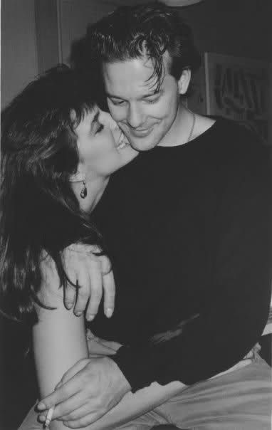 Gia Carangi. Candid with Mickey Rourke. Unknown date.