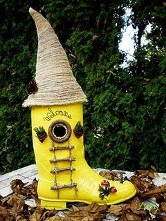 Fairy Garden Boot House...So awesome. It's weatherproof and easy to cut through for designing. Plastic from a boxed item purchased can be used to cover window holes.