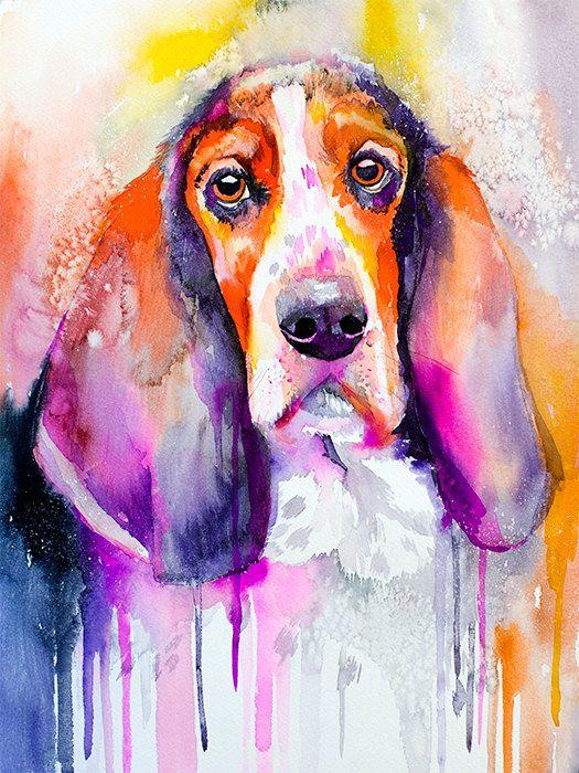 Basset dog watercolor painting print animal por SlaviART en Etsy
