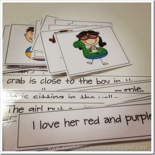 Matching sentences to pictures.
