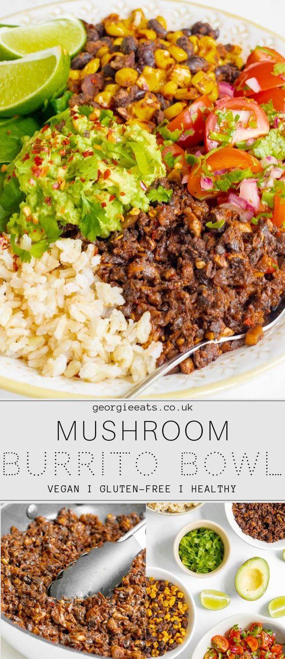 Mushroom burrito bowls
