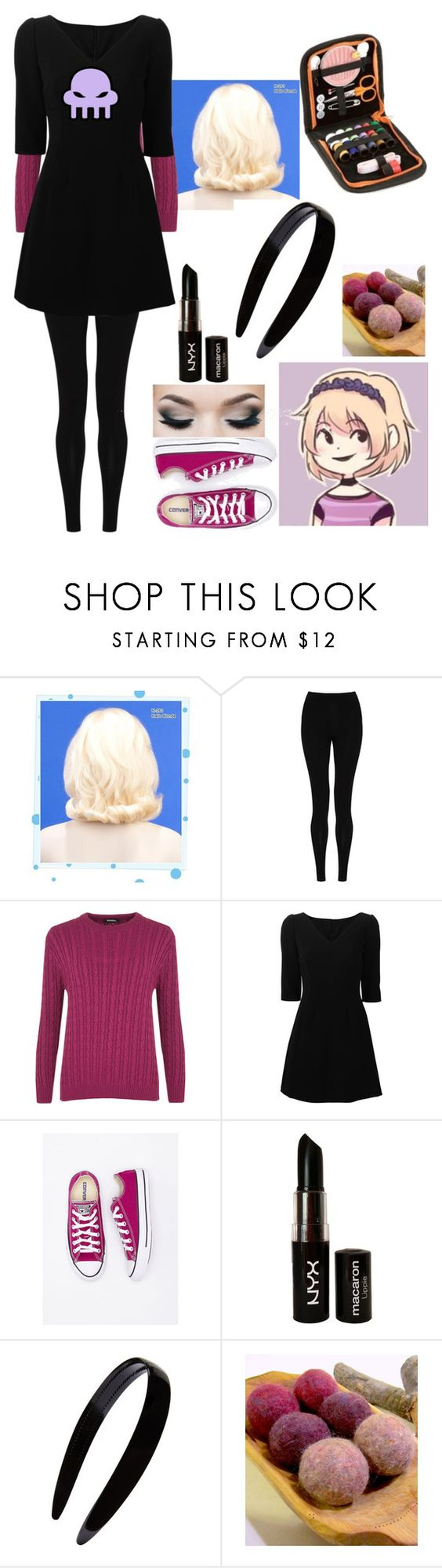 Rose Lalonde Inspired Outfit (7/??) *Homestuck Series* by bajancanadian-girl on Polyvore featuring Dolce&Gabbana, WearAll, M&S Collection, France Luxe, NYX, Wigs2You and Converse