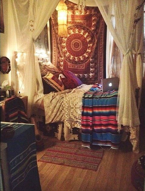 Bohemian room. Instead of a bed, maybe a couch or daybed: