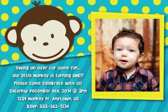 Mod Monkey Invitation OR Thank You Card with picture! Super cute little monkey birthday invite