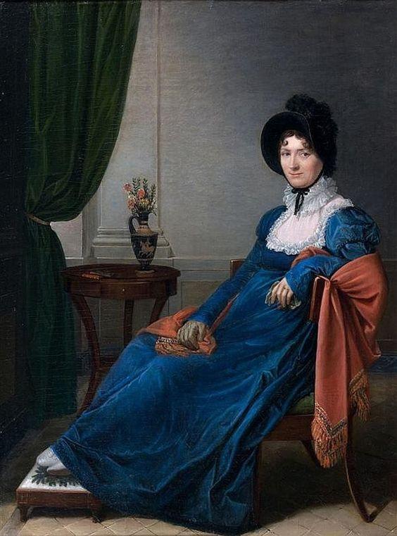 Matilde Malenchini - Portrait de Jeune Femme en robe Bleu et châle dindienne rouge, 1813.