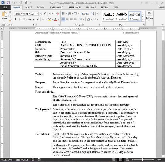 Bank Reconciliation Accounting Word Templates Business Processes - microsoft word standard operating procedure template