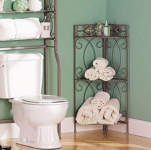 Corner Shelving Unit Towel Shelf Bathroom Furniture Transitional Storage Metal Home