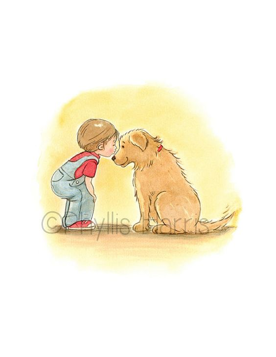 Often times a childs first love is their beloved pet. These two are inseparable! They do everything together. You can feel the love between them. You can choose the hair color for the little boy to fit your needs. This 8.5 x 11 print is made using archival inks and a wonderful