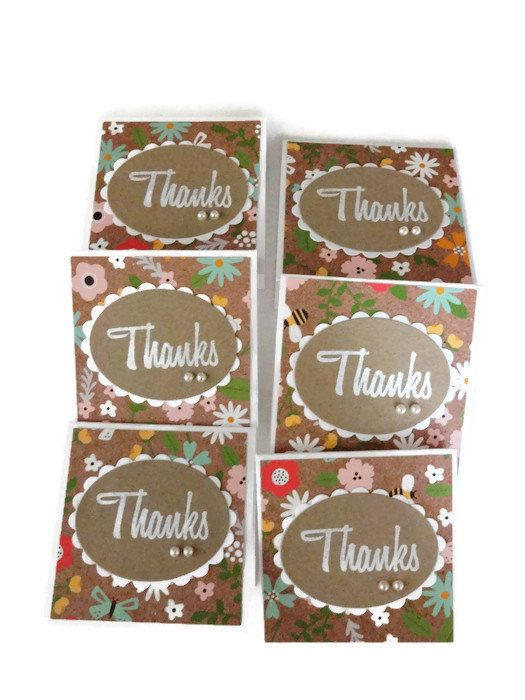 Mini Thank You Cards by lilaccottagecards on Etsy