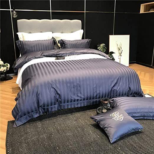 Xinwei Duvet Cover Set Double Bed Size Satin Stripe 100 Egyptian Cotton Luxury Bedding Set Blue 220x240cm Blue Bedding Sets Luxury Bedding Bed Sizes