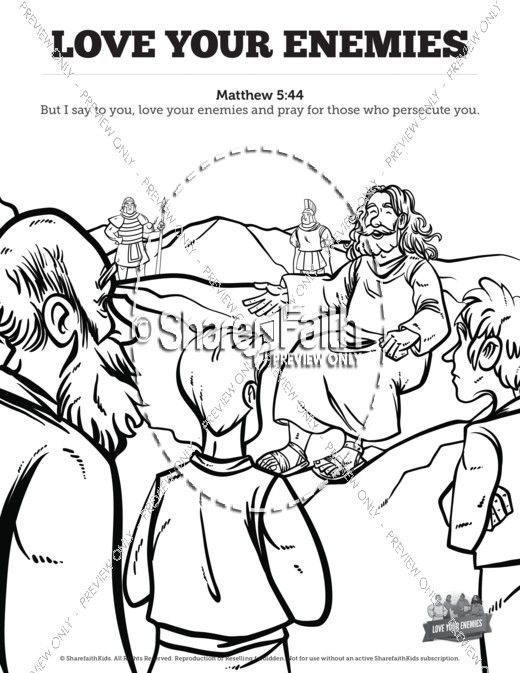 Matthew 5 Love Your Enemies Sunday School Coloring Pages Love
