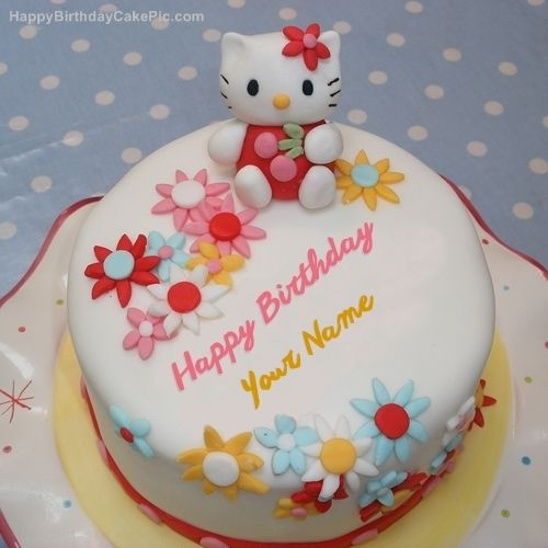 Hello Kitty Birthday Cake With Name Download Hello Kitty Birthday Cake Pic With Name Edit And Online Cake Hello Kitty Birthday Cake Hello Kitty Cake Cat Cake