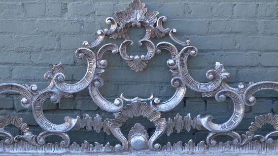 Carved Italian Silver Gilt Headboard image 3