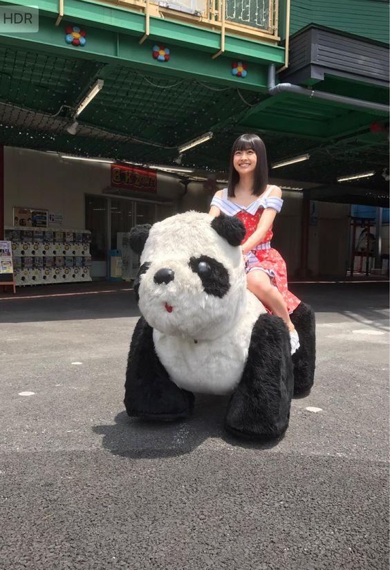 パンダにまたがるかわいい松岡はな