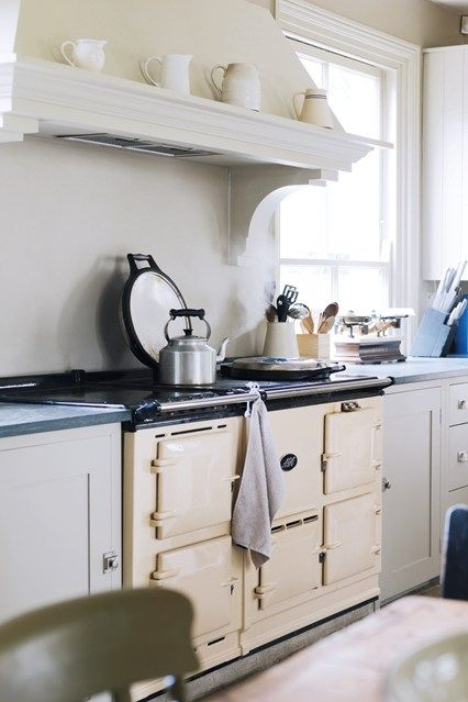 Cream Aga in Plain English Kitchen - Kitchen Design Ideas & Images (houseandgarden.co.uk)  If you like this, come on over and join us at http://www.TheHomeDesignSchool.com/signup ? Join up for a whole home decorating resource library.