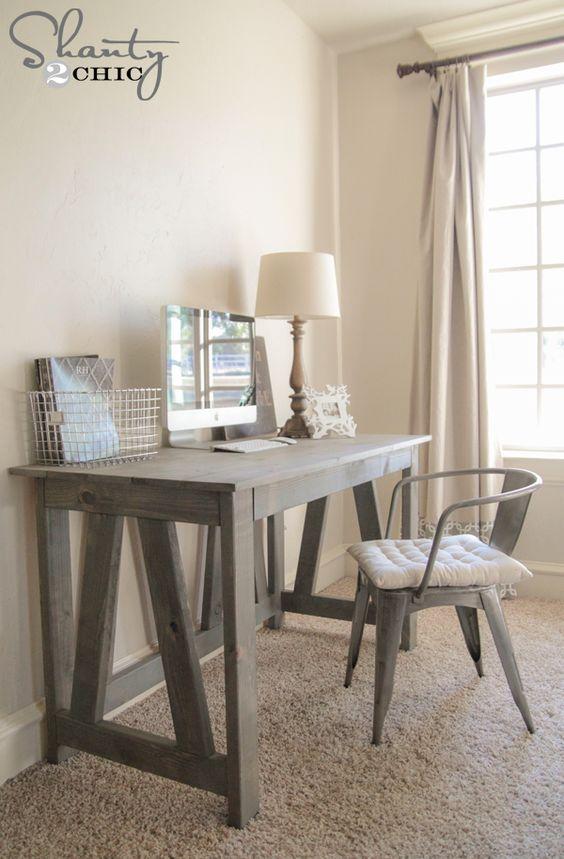 "Varathane  ""Weathered Gray"" DIY TRUSS DESK | Free Woodworking Plans Desk DIY Shanty 2 Chic"