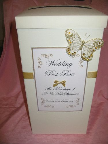 Ivory post box wedding cards with gold ribbon, butterfly & personalised label