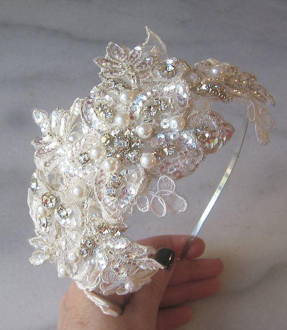 Rhinestone and Pearl Headband with Ivory Lace, Crystal Bridal Headband, Beaded Lace Head Piece - BRIANNE