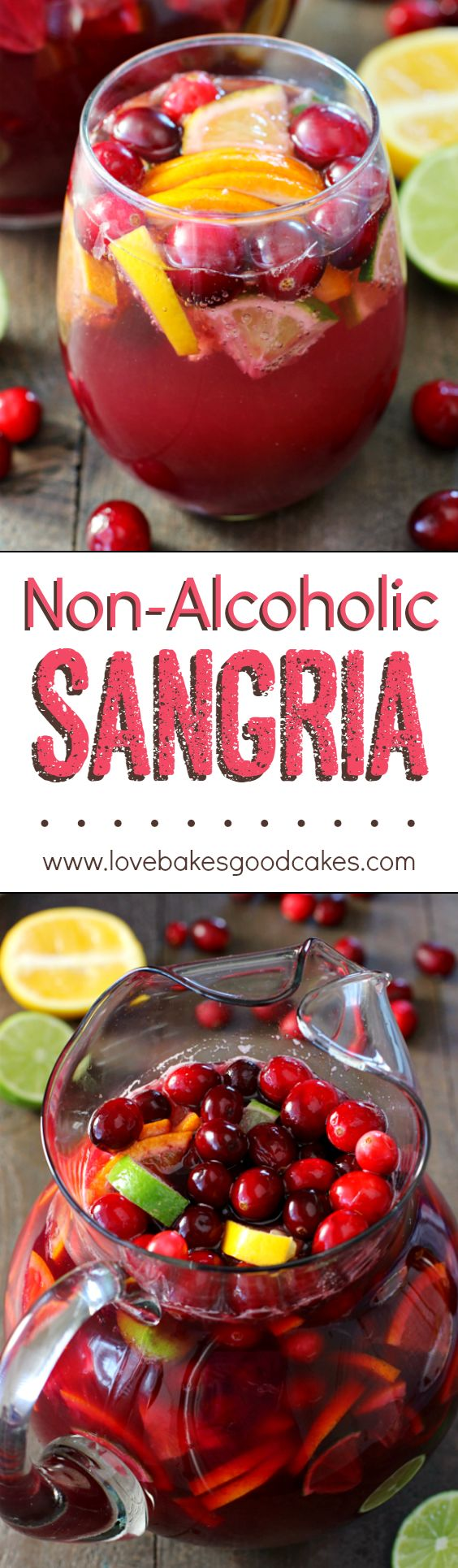 Non-Alcoholic Sangria Drink Recipe via Love Bakes Good Cakes - This is SOOOOO GOOD!! I'm saving this for all of our parties and holidays! The BEST Easy Non-Alcoholic Drinks Recipes - Creative Mocktails and Family Friendly, Alcohol-Free, Big Batch Party Beverages for a Crowd! #mocktails #virgindrinks #alcoholfreedrinks #nonalcoholicdrinks #familyfriendlydrinks #partypunch #partydrinks #newyearseve #partydrinkrecipes