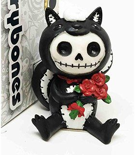 Furrybones Exclusive Adorable Valentine Skunk Carrying Red Roses Skeleton Monster Ornament Figurine