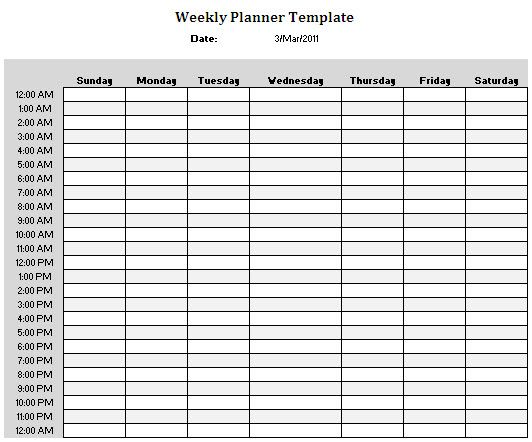 Weekly Planner Template – Time Planner Template