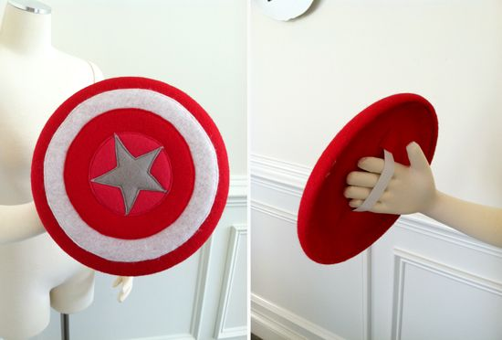 A DIY super hero shield using felt and a frisbee as it's base {an Art School Dropout's life} #silhouettedesignteam