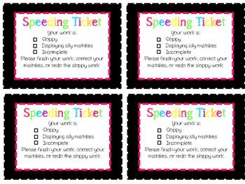 When students work too quickly they make mistakes. For more information on how i use the speeding tickets in my classroom head over to my blog at www.shiningthelightinthirdgrade.com !