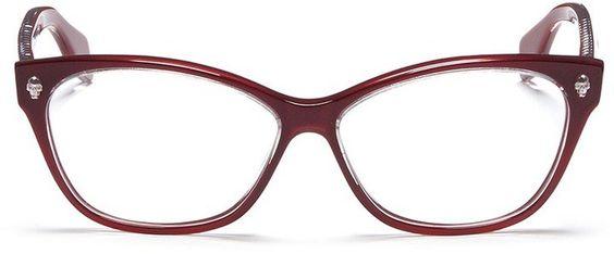 Pin for Later: Create Instant Specs Appeal in the Best Designer Glasses Alexander McQueen Skull Stud Square Cat Eye Optical Glasses  Alexander McQueen Skull Stud Square Cat Eye Optical Glasses (£175)