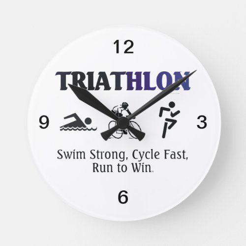 Top Triathlon Round Clock Zazzle Com In 2020 Triathlon Triathlon Gift Cycling Quotes Funny