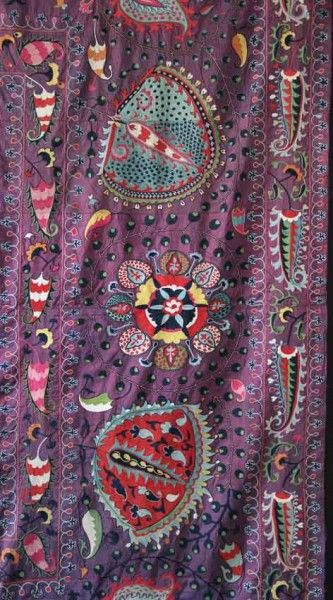 Detail of Lakai Suzani 11'4″ x 8'8″ circa 1800. Exhibitor James Cohen. Important London antique rug fair will open in a week