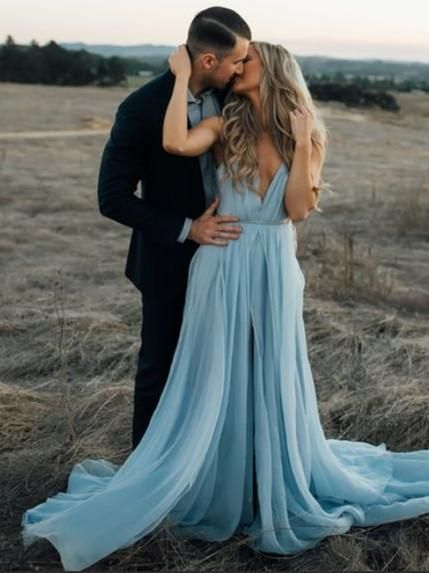 Stunning Chiffon Prom Dresses A-line Spaghetti Straps With Slit PD234 – BohoProm