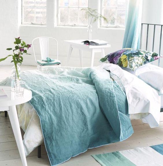 Designers Guild Saraille celadon quilt: