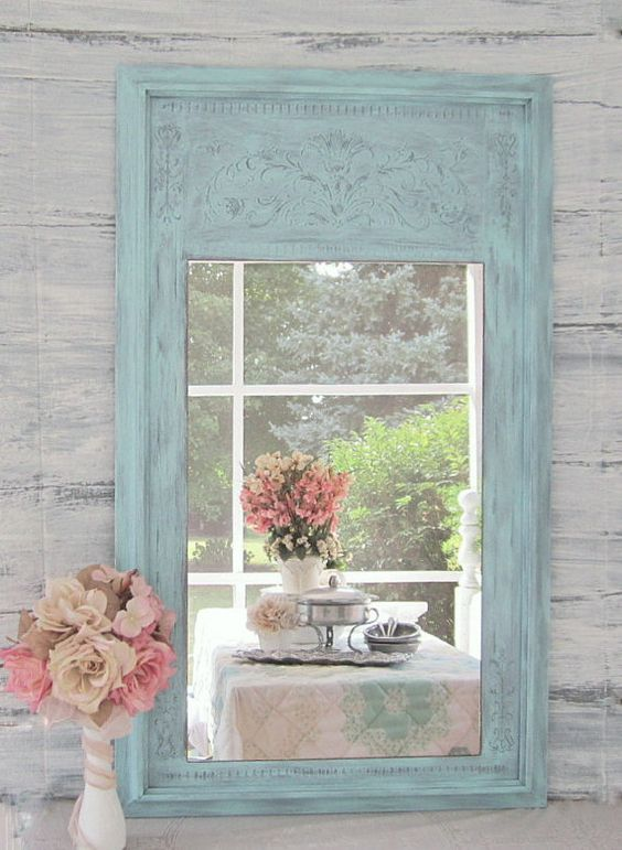 French Country Mirror For Sale Home Decor Baroque Mirror 31 X27 Teal Blue Seafoam Blue Unique