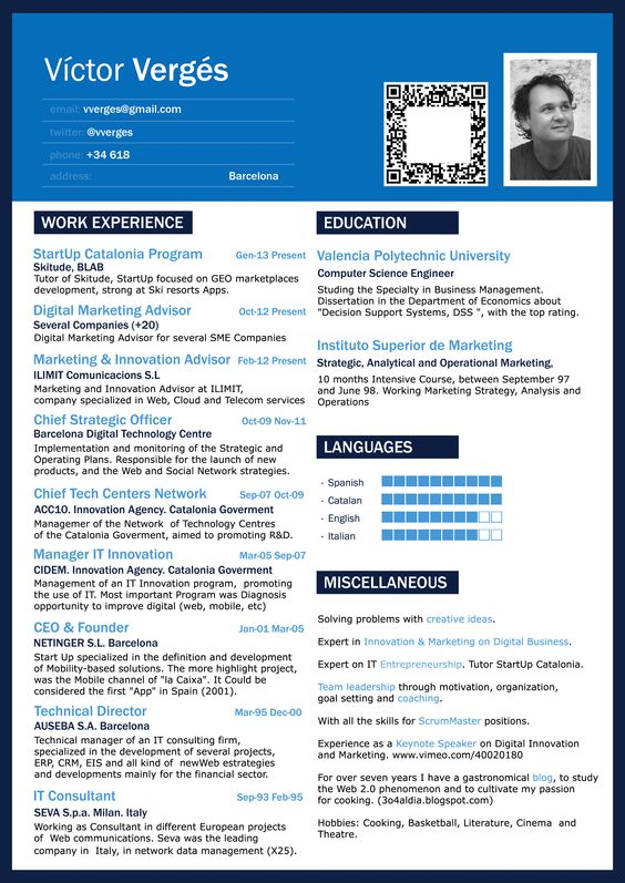 vctor vergs cv digital strategist marketing startups innovation on it expert and passionate my cv pinterest. Resume Example. Resume CV Cover Letter