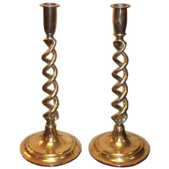 Antique English Brass Open Barley Twist Candlesticks | From a unique collection of antique and modern decorative objects at https://www.1stdibs.com/furniture/decorative-objects/decorative-objects/