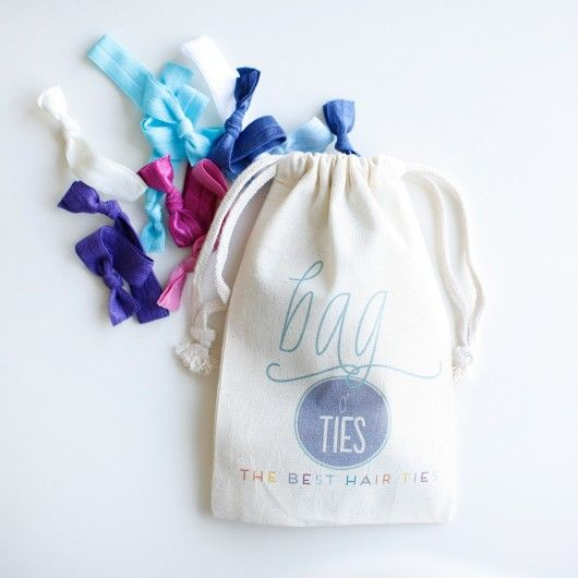 20 pack of Hair Ties and a cute drawstring bag. $18 great stocking stuffer. Free shipping on this product. Yay.