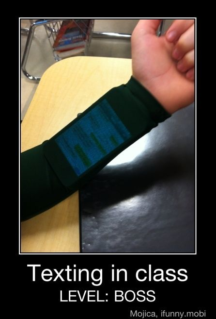Texting in class, wow!!!