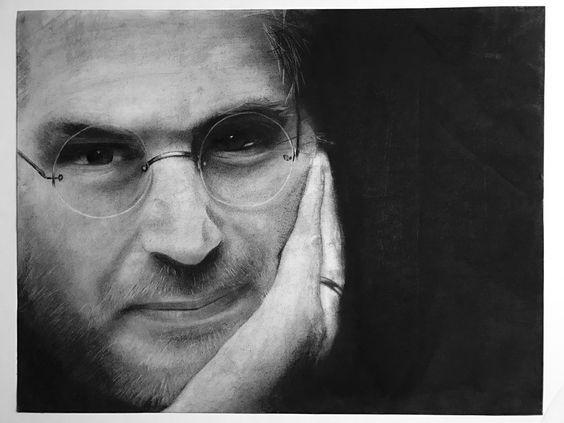 "Steve Jobs. Charcoal. 23.5""x18"""