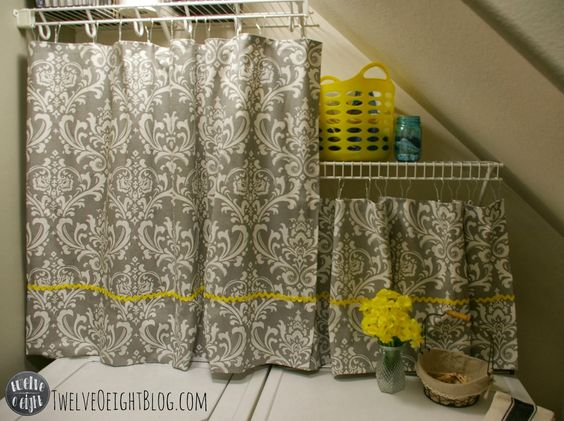 Use Curtains To Hide Unattractive Laundry Shelves Great Way To Hide A Washer And Dryer That
