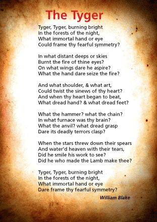 "blakes the tyger Notes on context, form and content, commentary and quotations on william blake's poem ""the tyger"" from songs of experience (1794."