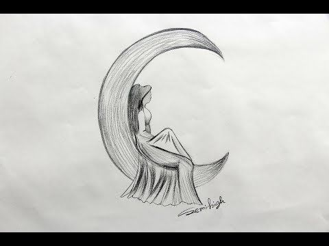 How To Draw Moon With Angel Step By Step Pencil Drawing