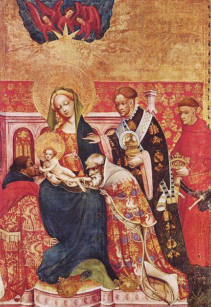 Konrad von Soest, Marienaltar, rechter Flügel innen: Anbetung der Heiligen Drei Könige