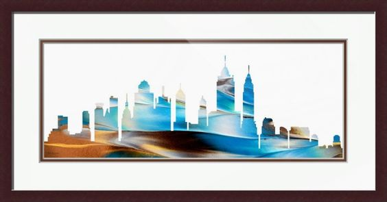"Framed Painting - ""Decorative Skyline Abstract New York PA"" by Martha Ann Sanchez: Decorative Skyline Abstract New York #Decorative 3Skyline #Abstract 3NewYork #Martha #Ann #Sanchez #MarthaAnnSanchez #MasArtStudio #Decorative #Cityscape #Landscape #Blue #White #Brown #Yellow"