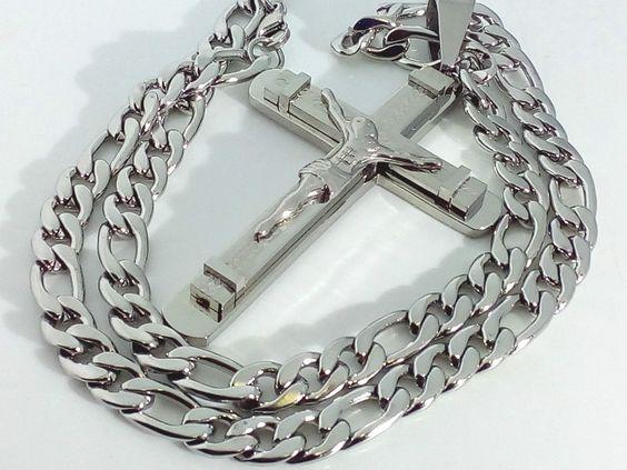 Collana Ciondolo Croce  Unisex Uomo Donna Crocifisso con cristo Catena